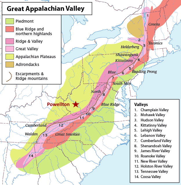 region surrounding the appalachian mountains