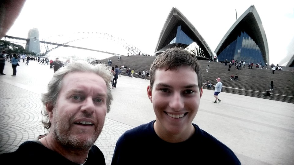 Stephen and Liam Carter in front of the Sydney Opera House