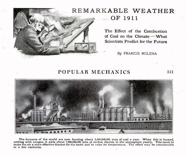 Popular Mechanics, March 1912. Global warming alert.